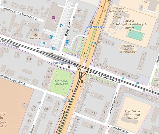 Poznań Dąbrowskiego Żeromskiego skrzyżowanie mapa OpenStreetMap korki
