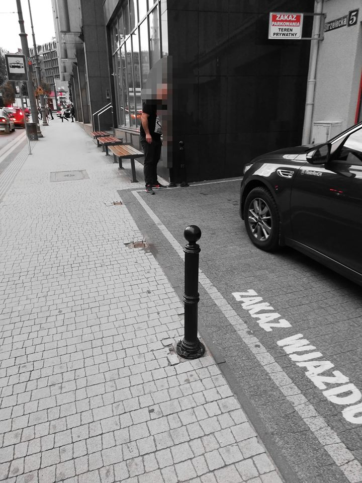 Ulica Strzelecka Poznań dewastacja słupków nielegalne parkowanie