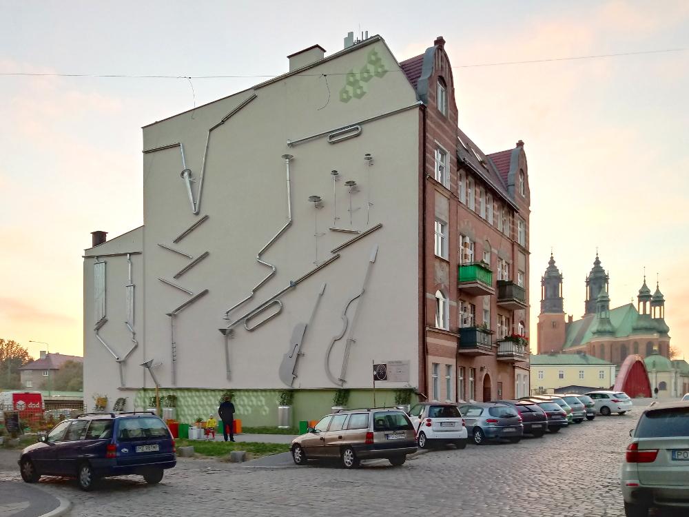 Zielona Symfonia rozbrzmiewa ze Śródki – nowy mural w Poznaniu