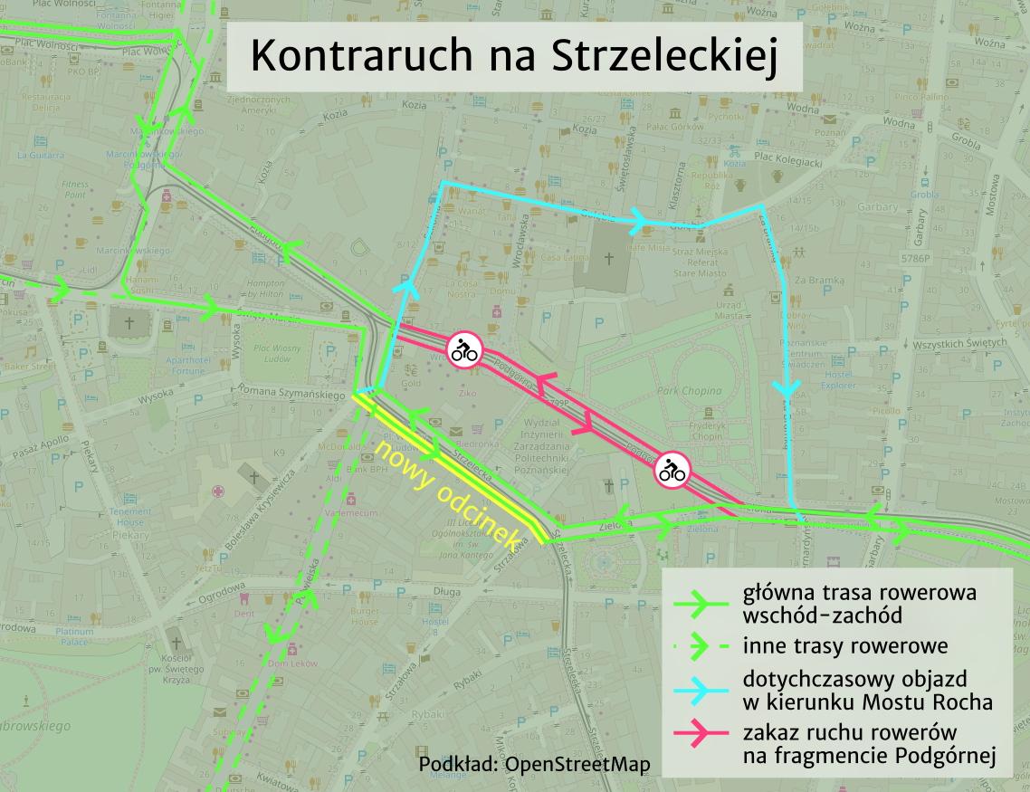 Strzelecka Poznań kontraruch rowerowy rowery mapa