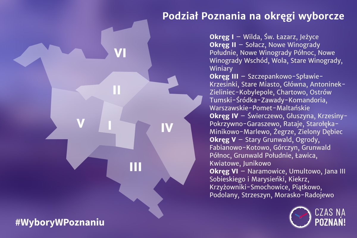 Wybory w Poznaniu pluralizm komitety wyborcze mapa Poznań okręgi