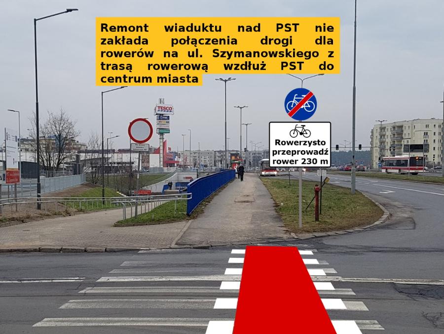 Poznań Rowerowy wiadukt PST Szymanowskiego zakaz
