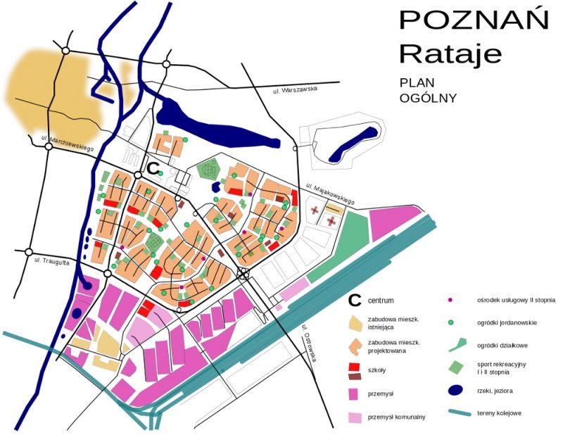 Poznań Łacina Posnania plan 1960