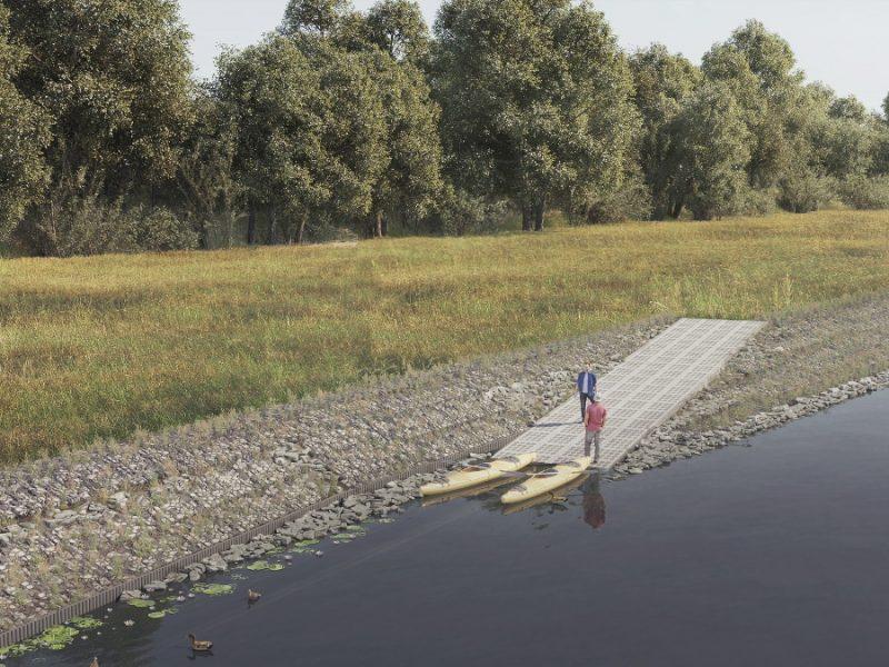 Poznań rzeka Warta przebudowa gabion woda chwasty
