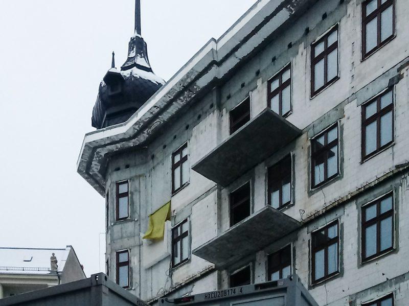 Poznań Żelazko odbudowa zima śnieg