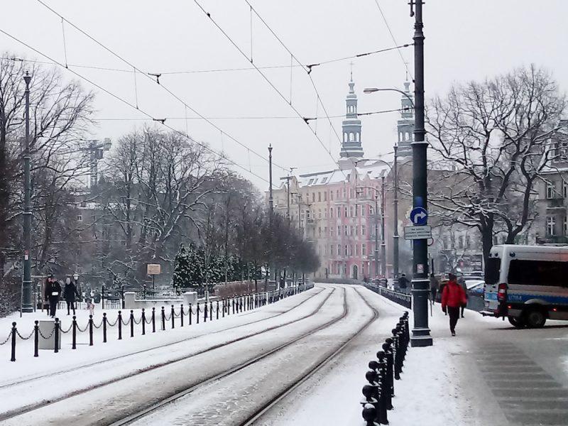 Zima w Poznaniu śnieg Podgórna