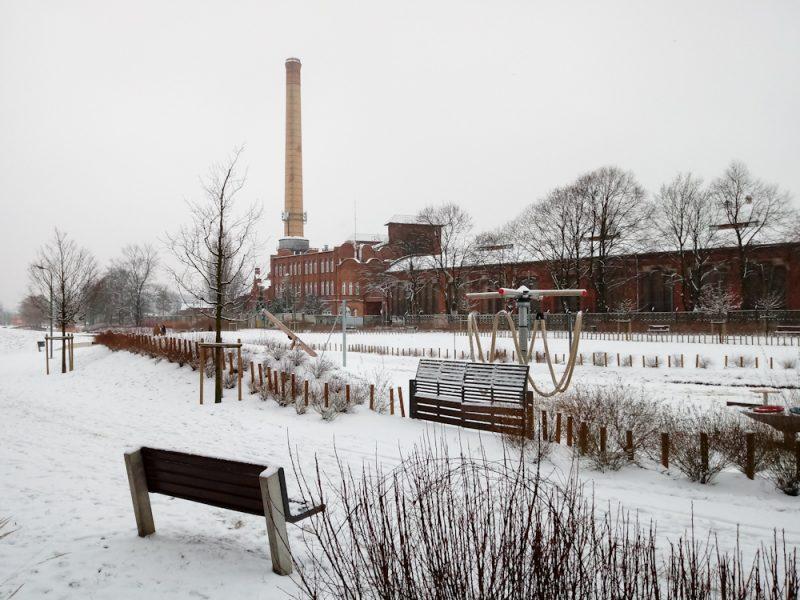 Poznań Stara Gazownia Park Stare Koryto Warty zima
