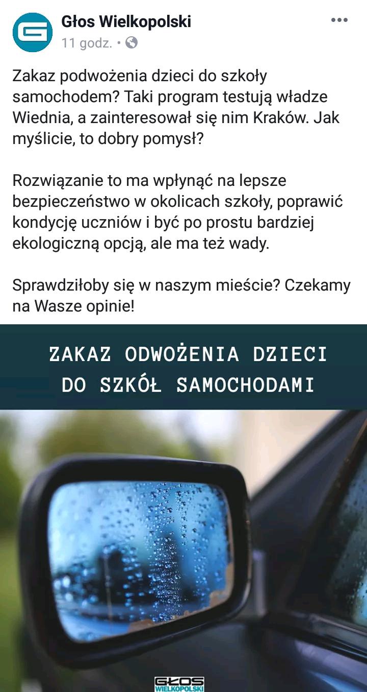 Poznań Facebnook ograniczenie odwożenia dzieci
