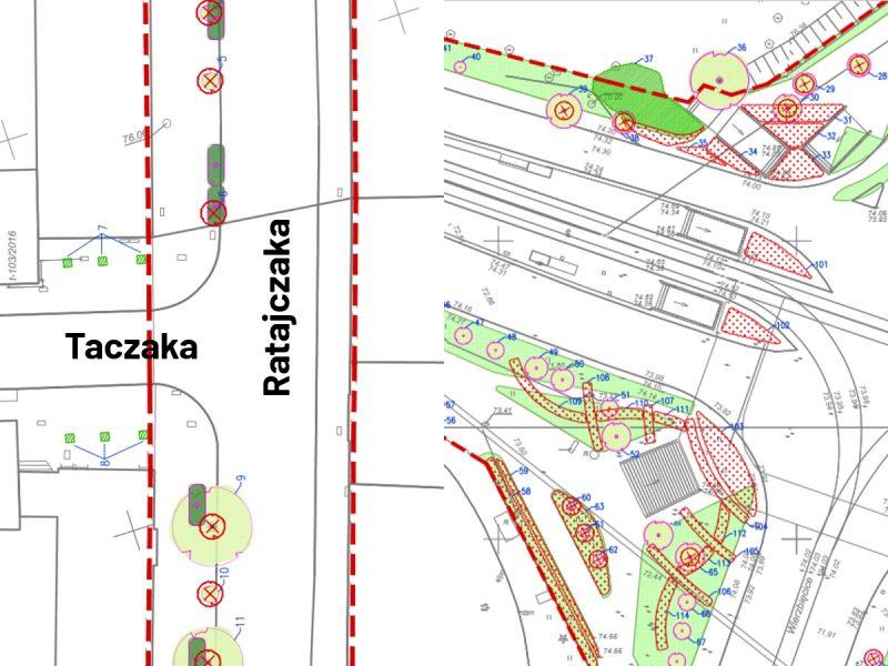 Poznań tramwaj w Ratajczaka Projekt Centrum wycinka drzew