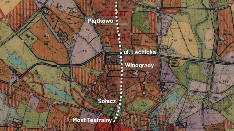 Poznań plan ogólny 1975 PST Północne Pasmo Rozwojowe