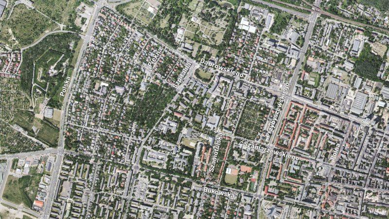 Poznań Jeżyce Ogrody Geopoz zdjęcie satelitarne