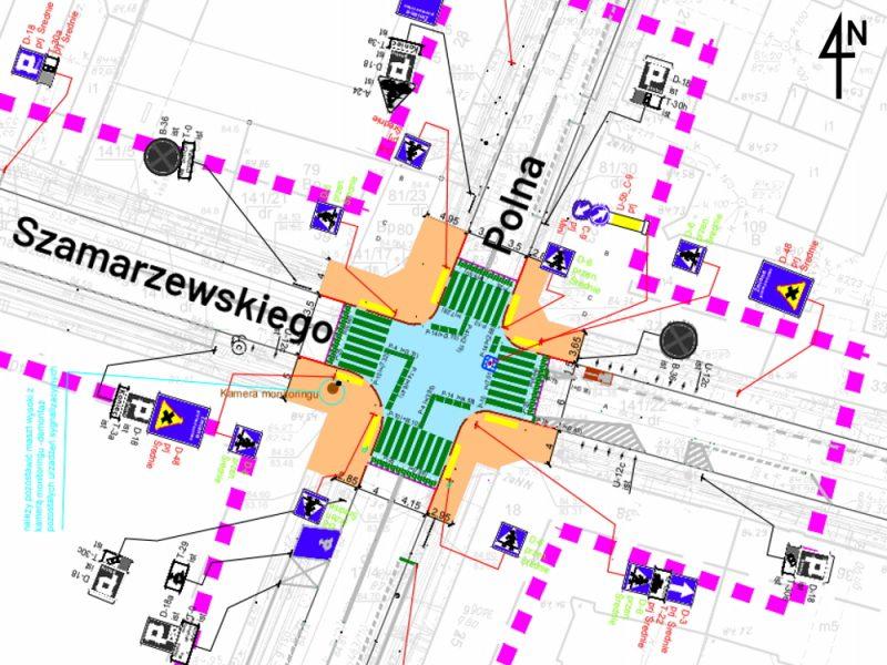 Polna Szamarzewskiego skrzyżowanie równorzędne wyniesione projekt