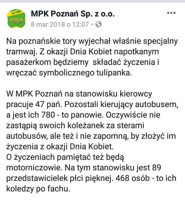 Dzień Kobiet 8 marca 2018 w MPK Poznań