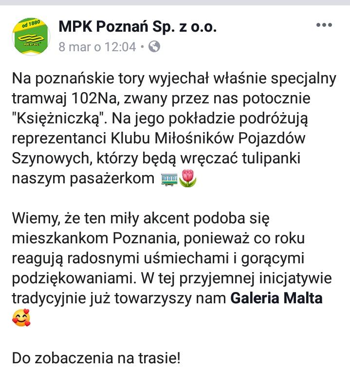 MPK Poznań dyskryminacja Dzień Kobiet 2019