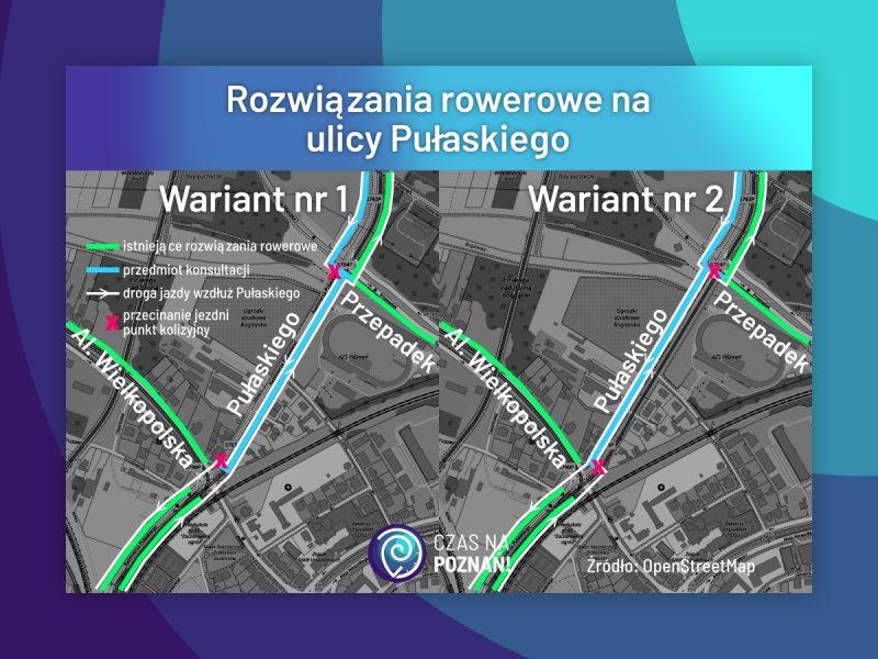 Poznań rozwiązania rowerowe Pułaskiego
