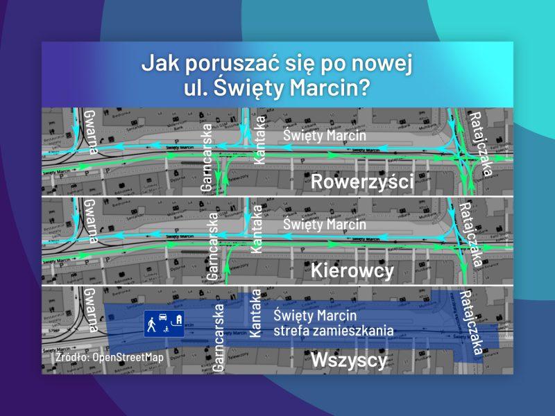 Poznań Święty Marcin jak jeździć i poruszać się
