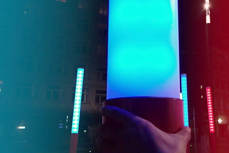 kolorowe słupy latarnie święty marcin projekt centrum