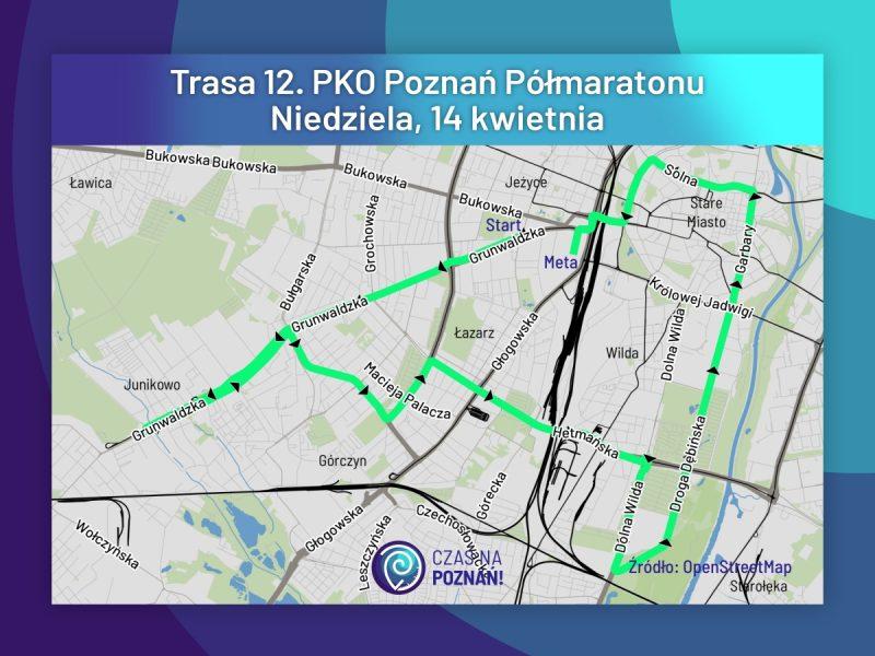 PKO Poznań Półmaraton mapa trasa biegu