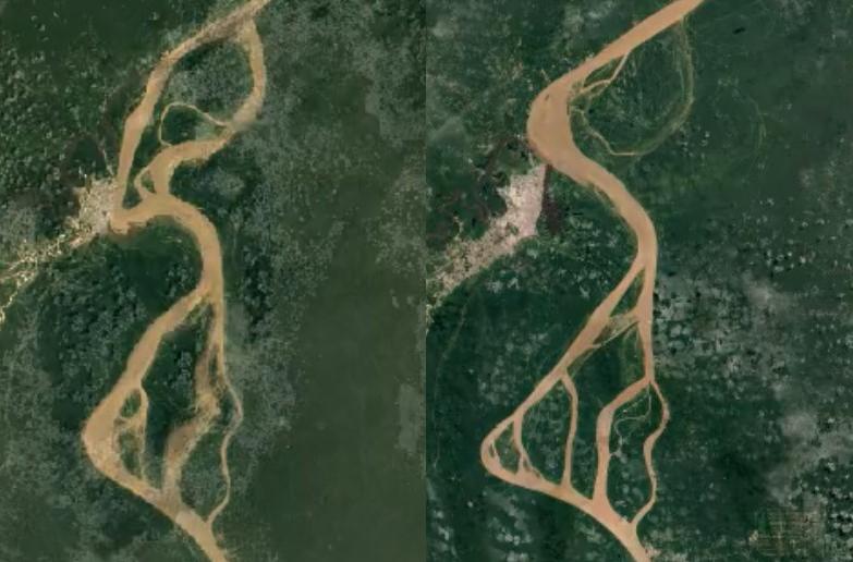 Iquitos Peru Amazonka - rzeka warkoczowa w Google Earth Timelapse