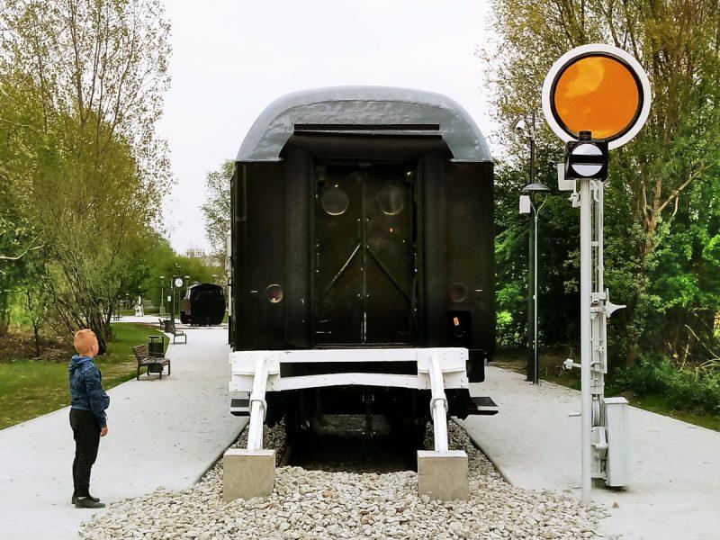 Park Rataje dzieci bawią się w zdewastowanym wagonie w Poznaniu