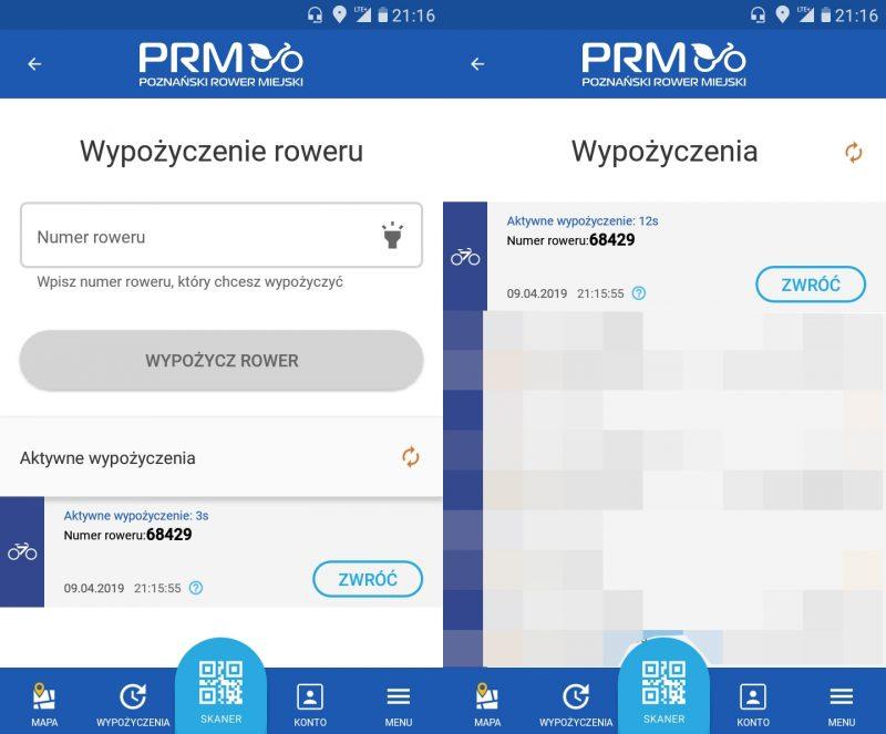 Poznański Rower Miejski brak kodu do obejmy aplikacja Nextbike