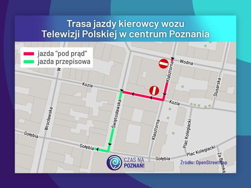 Poznań trasa kierowcy TVP i jazda pod prąd
