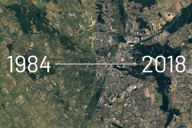Poznań zdjęcia satelitarne dzięki Google Earth Timelapse geografia