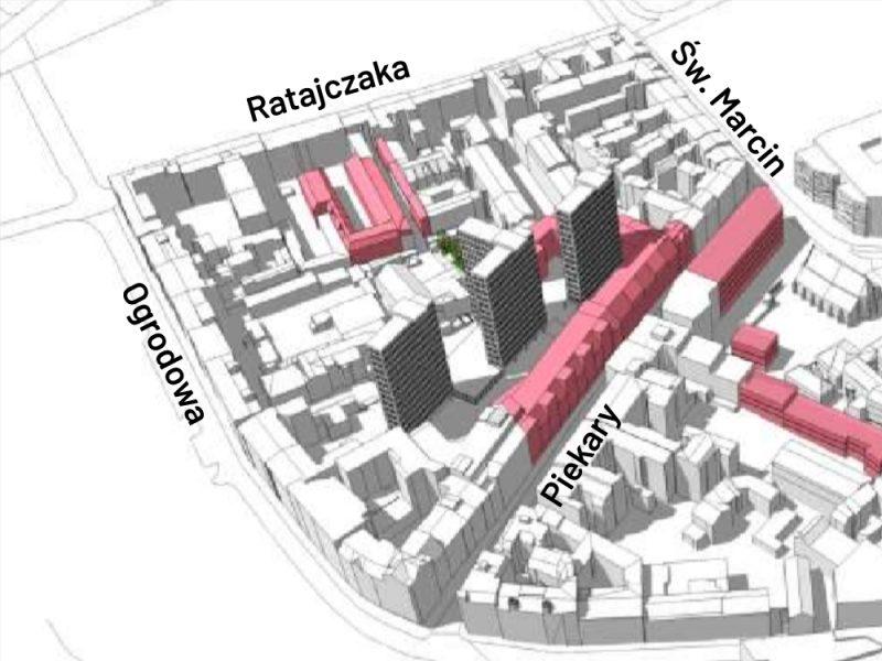 Poznań ulica Piekary Pasaż Apollo zabudowa plan miejscowy mpzp