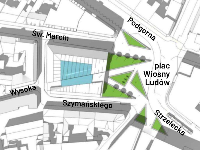 Poznań MPU Plac Wiosny Ludów nowa zabudowa