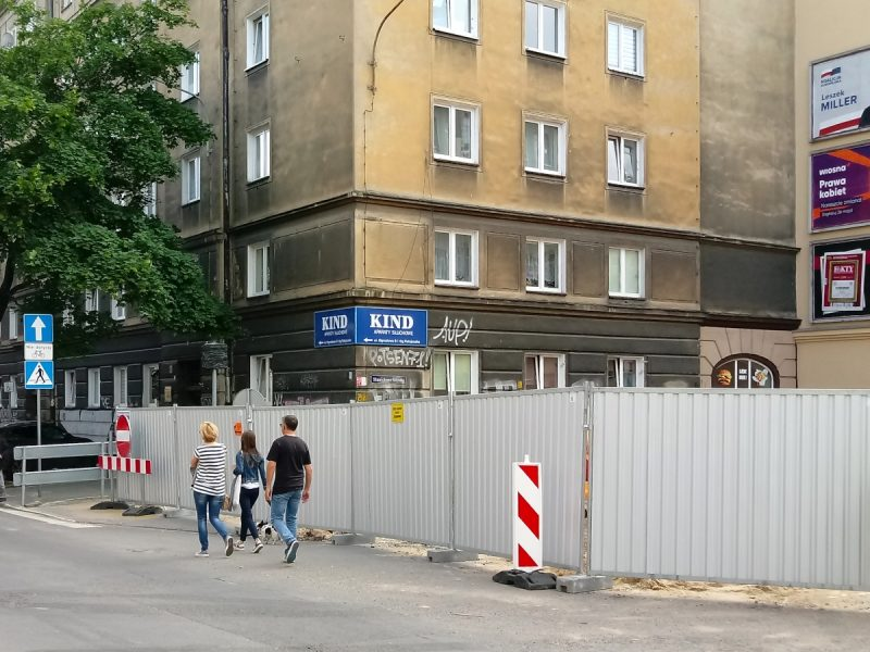 Taczaka/Ratajczaka: prace budowlane na skrzyżowanu, Stare Miasto