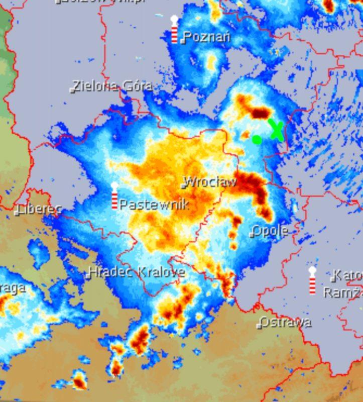 Radar meteo deszcz grad burza Poznań pogoda