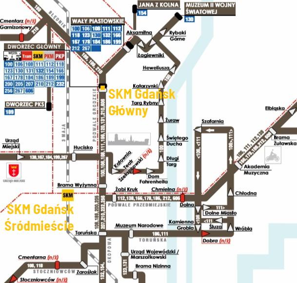 Schemat komunikacji autobusowej w centrum Gdańska
