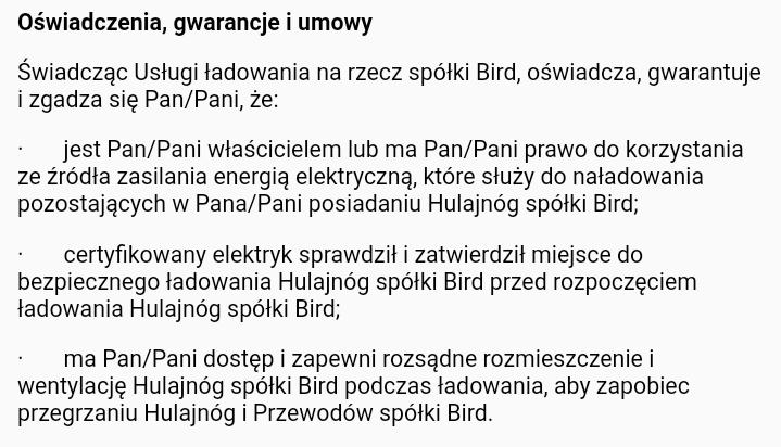 Informacja o prądzie Bird taryfa gospodarcza