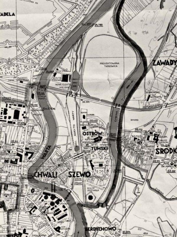 Plan Stołecznego Miasta Poznania z 1938 roku (Elektrownia Garbary w górnej części), ze zb. Archiwum Państwowego