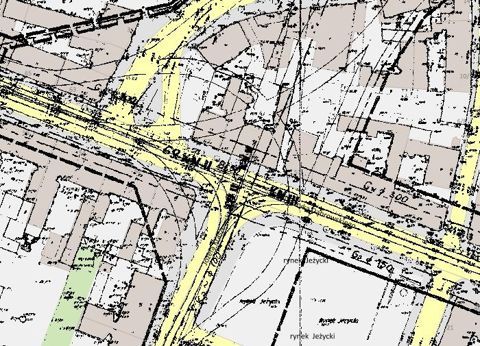 Poznań plan szczegółowy dla Jeżyc z 1971 roku