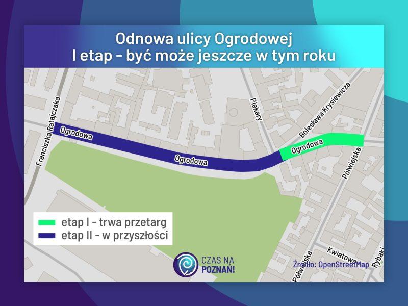 Poznań odnowa ulicy Ogrodowej remont nowa kostka