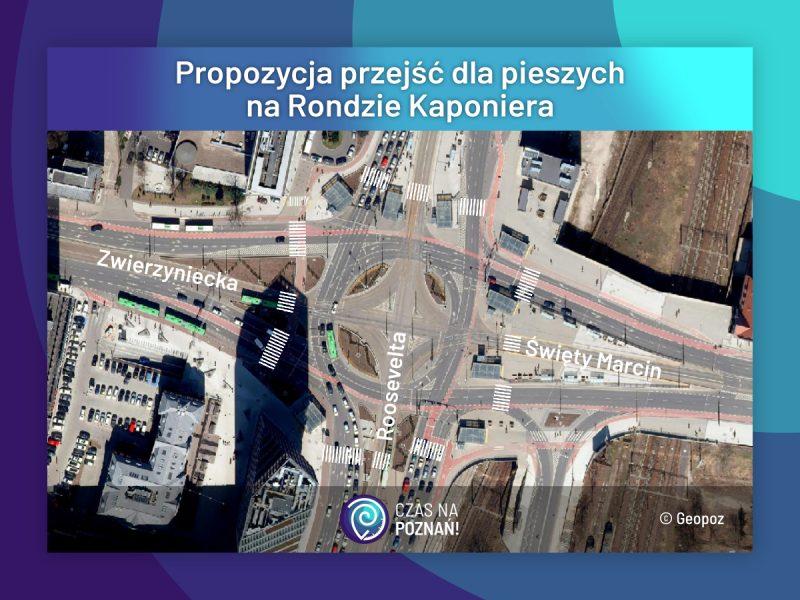 Propozycja przejść dla pieszych na Rondzie Kaponiera - Poznań