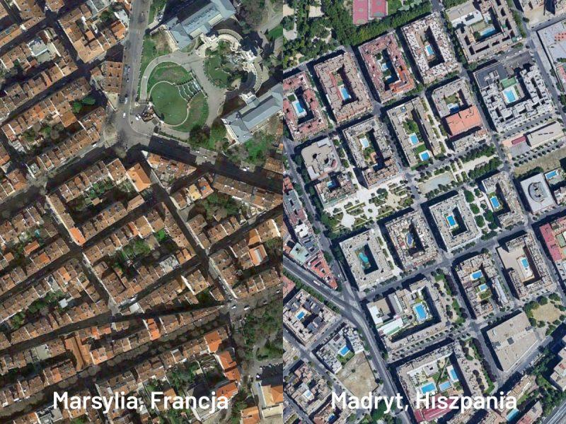 Gęsta zabudowa miast Europy Południowej: stara (Marsylia) i nowa (Madryt)