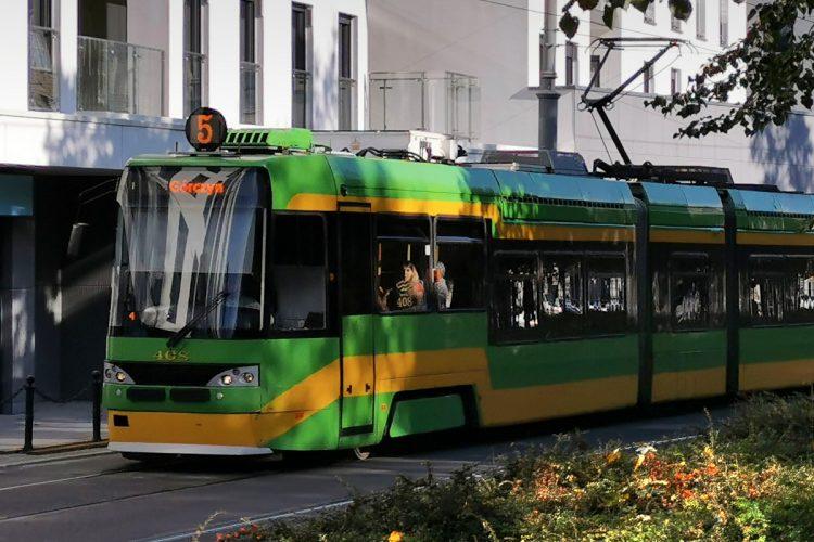 Transport zbiorowy w Poznaniu. Tramwaj Tatra jedzie po torowisku na Starym Mieście. Jesień, dobra pogoda