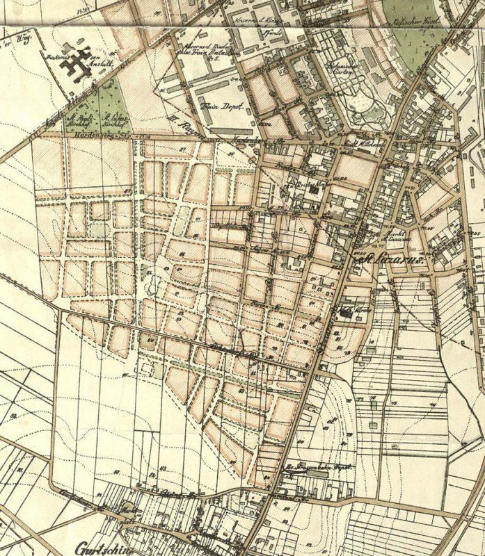 Übersichts Plan der Provinzial Hauptstadt Posen, plan przeglądowy Poznania, stolicy prowincji z 1910 roku
