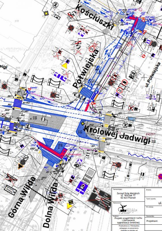 Organizacja ruchu w rejonie skrzyżowania ul. Dolna Wilda, Górna Wilda, Królowej Jadwigi, Półwiejska, Kościuszki, Krakowska