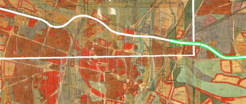 Plan ogólny z 1966 roku. Trasę wschód-zachód zaznaczono kolorem białym, na zielono podkreślono Trasę Warszawską omawianą w tym tekście