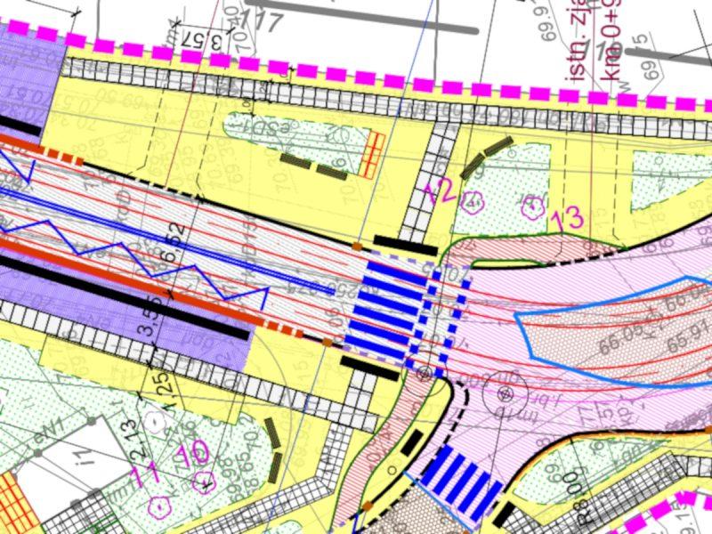 Projekt dla rejonu Rynku Wildeckiego: krótki łącznik rowerowy i niewygodne chodniki. Kolor żółty - kostka łupana, fioletowy - kostka kamienna cięta, białe prostokąty - płyty kamienne