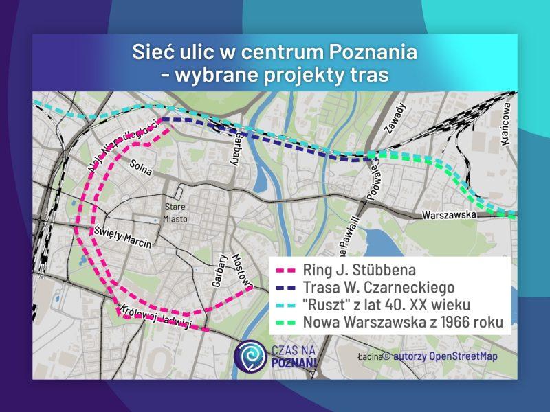 Sieć ulic w centrum Poznania - wybrane projekty tras. Ring Stubbena, Nowa Warszawska