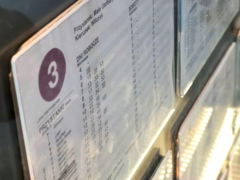 Kartki z rozkładami jazdy są czytelne. Zawierają symbol linii tramwajowej (powtarzany na schemacie tras czy w samych wiatach) oraz wyraźne godziny odjazdów