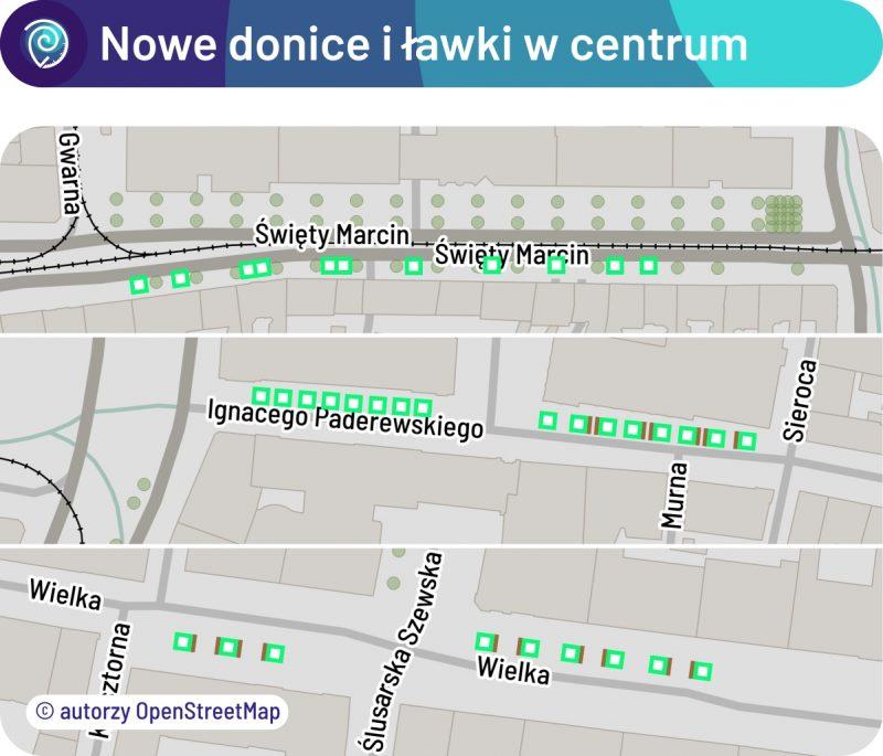 Nowe donice i ławki w centrum Poznania: mapa umiejscowienia. Stare Miasto