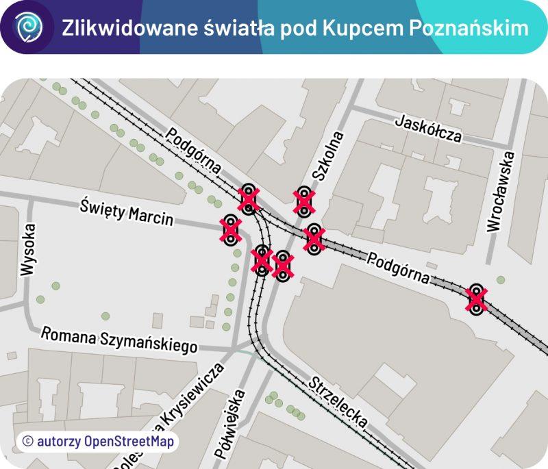 Zlikwidowane sygnalizacje w rejonie Kupca Poznańskiego