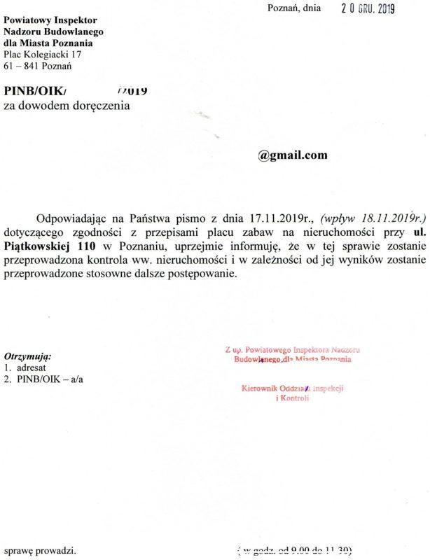Skan pisma od Powiatowego Inspektoratu Nadzoru Budowlanego. Kuwetowy plac zabaw z Piątkowskiej