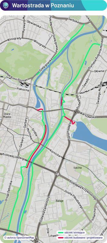 Wartostrada w Poznaniu - mapa odcinków istniejących i planowanych. Teraz kończy się budowa trasy od Mostu Królowej Jadwigi do parku Stare Koryto Warty