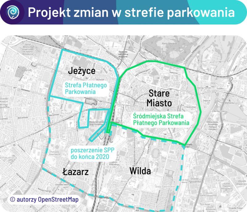 Projekt zmian w strefie parkowania zakłada powstanie nowej, śródmiejskiej strefy na obszarze Starego Miasta. Poznań SPP